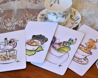 Tea Lover Postcard Set 04, Watercolor Mermaid Prints 04