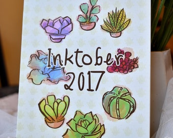 Colorful Succulents Art Booklet, Daily Drawings Zine