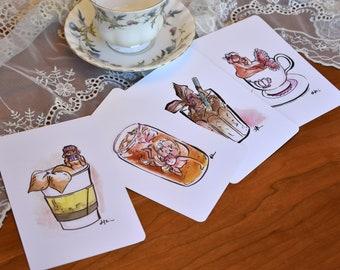 Tea Lover Postcard Set 05, Watercolor Mermaid Prints 05