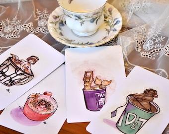 Tea Lover Postcard Set 06, Watercolor Mermaid Prints 06