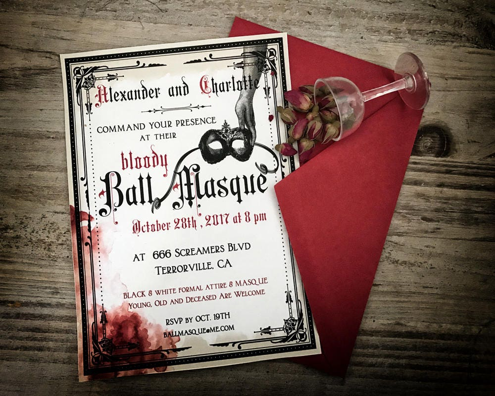 Halloween Party Invitation Ball Masque Venetian Mask | Etsy