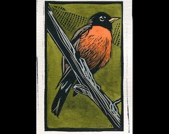 American Robin hand painted linocut (C)