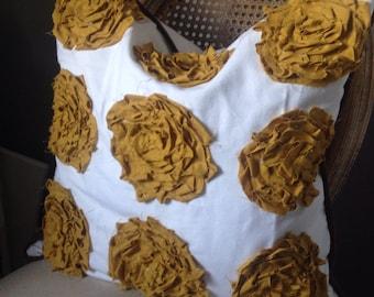 Mustard Yellow Rosette Pillow 20x20 Cover