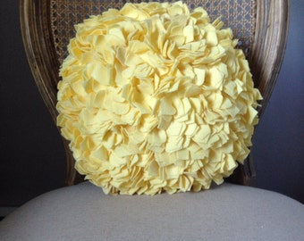 Round Hydrangea Pillow in Light Yellow Felt