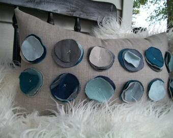 Linen Circles Pillow on Oatmeal Linen- Blues and Greys