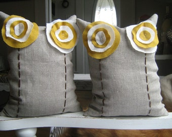 Linen Flower beanbag Bookends in Mustard Yellow and Cream on Oatmeal Linen