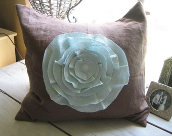 French Rose Pillow- in Chocolate and Robins Egg Blue Linen