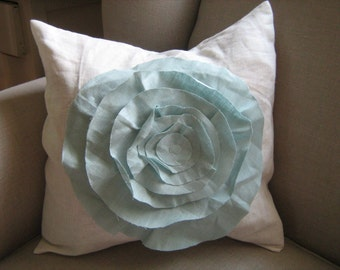 French Rose  Pillow In White and Robins Egg Blue Linen