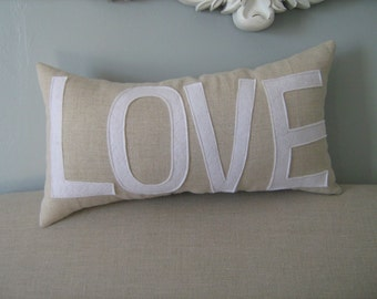 LOVE Lumbar Pillow in Oatmeal Linen and White Wording