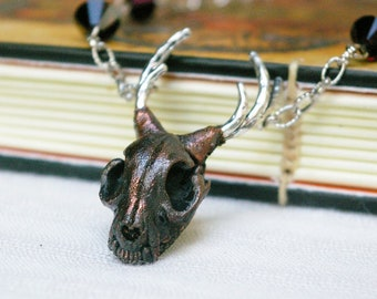 Catalope Pendant, Cat Skull with Antlers, Mixed Metal, Witchy Necklace, Recycled Copper