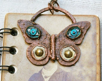Butterfly Necklace, Electroformed Pendant, Recycled Copper, Vintage Glass Eyes