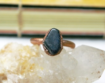 Iolite Ring, September Birthstone, Recycled Electroformed Copper, Size 7