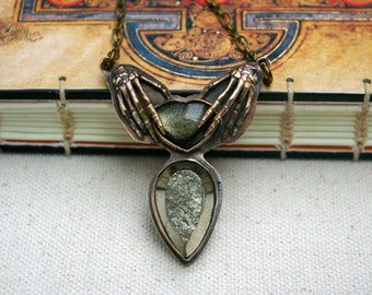 Skeleton Hands Necklace, Goldsheen Obsidian Heart, Pyrite Druzy Body, Bronze Setting