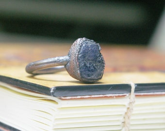 Iolite Ring, September Birthstone, Recycled Electroformed Copper, Size 8 1/4