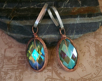 Ear Weights, Upcycled AB Chandelier Beads, Recycled Electroformed Copper, Stainless Steel Flat Wire Hooks