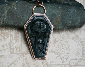 Coffin Skull Pendant, Carpe Noctem, Stamped Copper, Carved Buffalo Horn, Edler Futhark Runes
