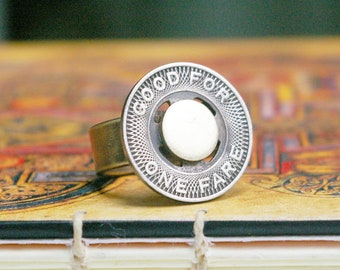 Upcycled Vintage Coin, Transit Token, Brass and Steel Ring, Thick Band, Urban Grunge Style, Size 9 1/4 Ring