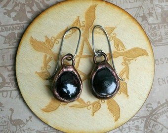 Garnet Pebble Earrings, Electroformed Witchy Style, Recycled Copper, 18g Stainless Steel