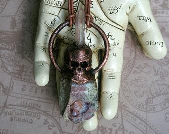 Skull Pendant, Raw Opal, Pink Aura Crystal, Metallic Brown Leather Cord