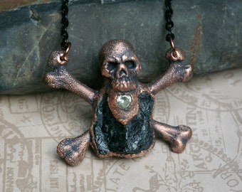Skull & Crossbones Necklace, Raw Obsidian, Recycled Copper, Alternative Style, Enamel Chain