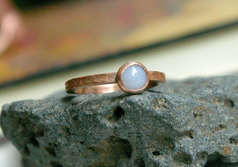 Blue Lace Agate Copper Stackable Ring Size 6 1/2 Hammered image 0