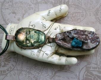 Skull Statement Pendant, Warrior Goddess, Soldered Brass, Cavansite Crystal on Stilbite, Carved Labradorite