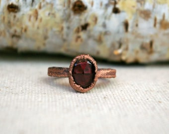 Rose Cut Garnet, January Birthstone, Recycled Copper, Electroformed Ring, Size 5 1/2