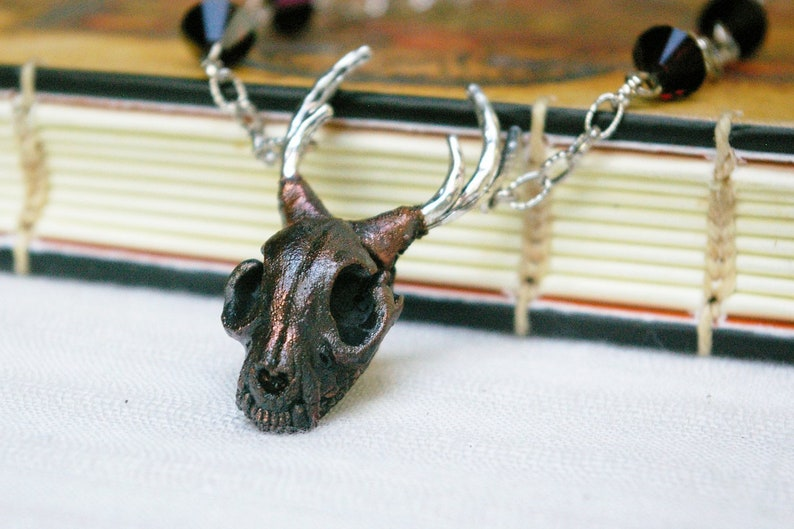 Catalope Pendant Cat Skull with Antlers Mixed Metal Witchy image 0