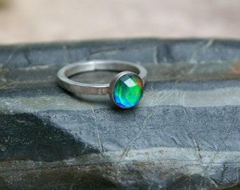Aurora Opal Ring, Rainbow Flash, Quartz Doublet, Sterling Silver, Size 7 1/2