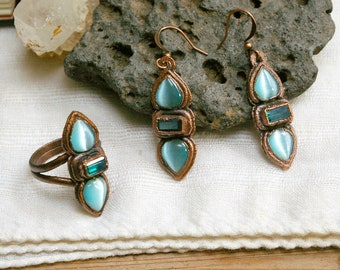 Boho Electroformed Ring and Earring Set, Textured Recycled Copper Jewelry, Blue Cats Eye, Teal Glass, Size 8 Ring