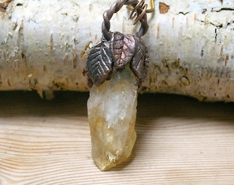 Electroformed Citrine Point Pendant, Antique Box Link Chain, Rough Stone Statement Jewelry, Witchy Pendant, Magic Talisman