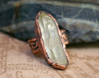 Quartz Crystal Shard Ring, Electroformed Copper, Vines Textured Band, Recycled Metal, Size ~ 6/12 to 7