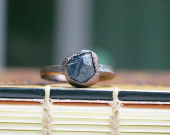 Record Keeper Sapphire, Recycled Electroformed Copper Ring, Size 7
