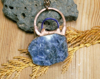 Rough Sodalite Slice, Annodized Blue-Purple, Double Square Wire Hoop, Raw Stone Pendant, Recycled Copper, Electroformed Jewelry