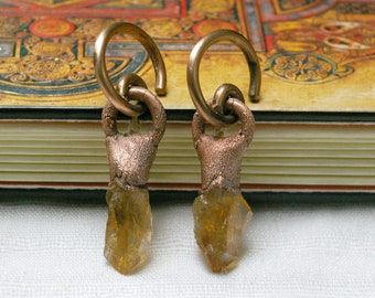 10g Copper Spiral, Citrine Point Earrings, Stretch Modified Ears