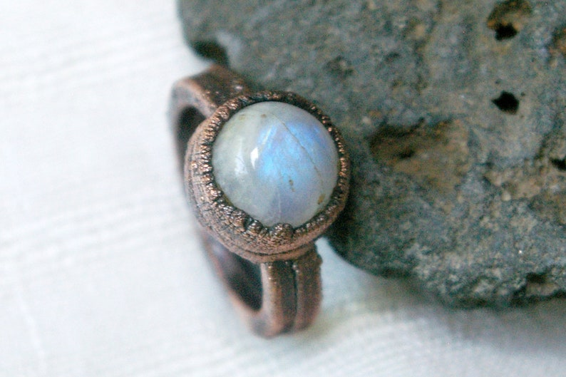 Rainbow Moonstone Ring Polished Stone Boho Electroformed image 0
