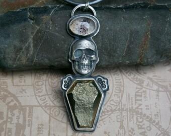 Skull Coffin Pendant, Memento Mori, Pyrite Druzy, Super 7, Metallic Leather Cord