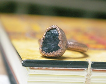 Iolite Ring, September Birthstone, Recycled Electroformed Copper, Size 6 1/2