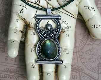 Hourglass Pendant, Memento Mori, Rose Cut Labradorite, Recycled Sterling Silver