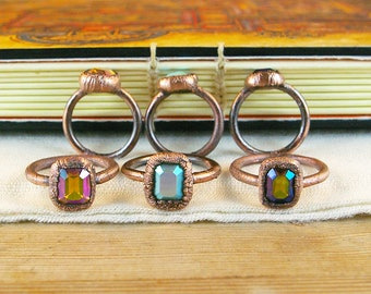Vintage Rhinestone Ring, Electroformed Copper, Recycled Rustic, Boho Multiple Sizes and Colors
