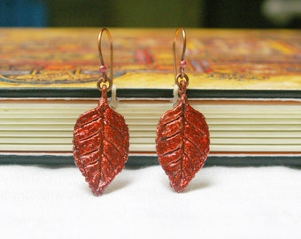 Red Leaf Earrings, Autumn Style, Recycled Electroformed Copper