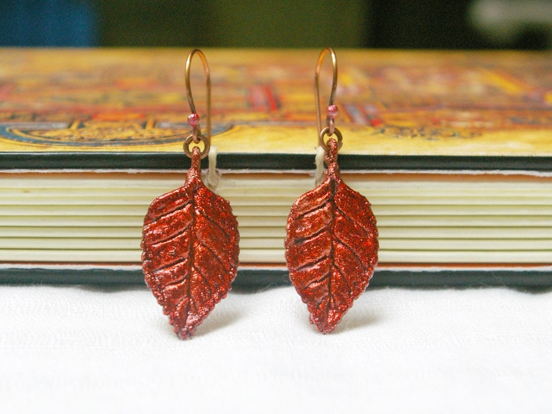 Red Leaf Earrings Autumn Style Recycled Electroformed Copper image 1