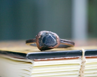 Record Keeper Sapphire, Recycled Electroformed Copper Ring, Size 10
