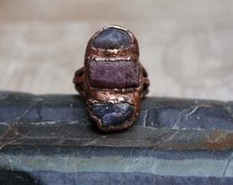 Raw Stone Ring, Tanzanite Ruby Trio, Recycled Electroformed Copper, Size 9 3/4