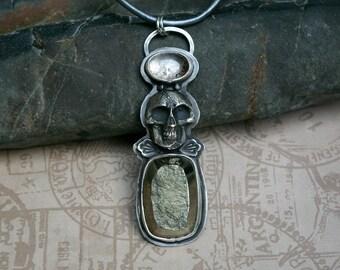 Skull Halo Pendant, Memento Mori, Pyrite Druzy, Super 7, Metallic Leather Cord