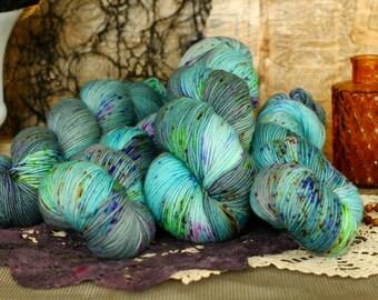 Gazing Ball 434 yards/ Titanium Sock Yarn/ superwash merino 4 ply speckle dyed DOMESTIC SPUN