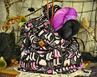 Fortune Teller Reticule // Hand Sewn Drawstring Knitting Bag, Project Bag