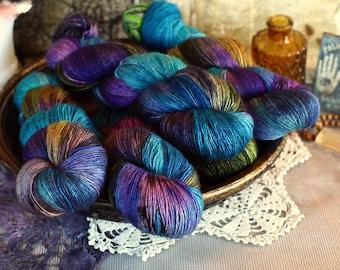 Enchanting 523 yards on Yak - Merino Fingering Yarn, single merino-hand painted yarn