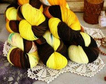 Goblin Candy 434 yards/ Titanium Sock Yarn/ superwash merino 4 ply speckle dyed, domestic spun!