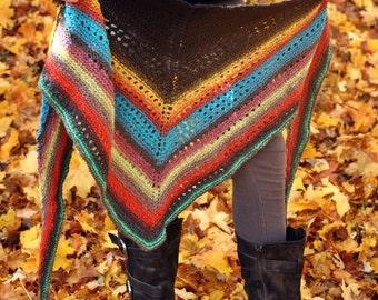 Shaman Shawl // Merino Hand Knitted // Limited Edition, Triangle Shawl